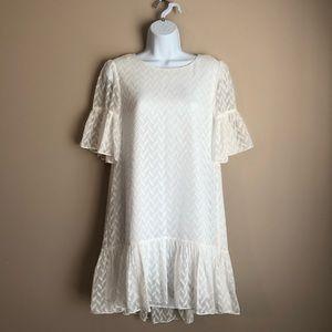 CeCe Ruffled White Dress